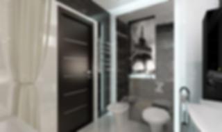 Дизайн-проект интерьера 3-х комнатной квартиры в Екатеринбурге. Функциональный минимализм, Вечная Классика и смелый Авангард под одной крышей. Черно-белый цвет в интерьере, контрастный цвет комнаты, рама, короб из гипсокартона в санузле, ниша в коробе, картина в санузле, освещение ванной, большая двухместная  ванна, натяжной потолок черный