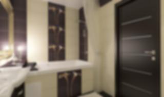 проект интерьера 3-х комнатной квартиры в Екатеринбурге. Пурпурный цвет в интерьере, контрастный цвет комнаты, рама, короб из гипсокартона в санузле, ниша в коробе, декор-панно плитка в санузле, освещение ванной, большая двухместная  ванна, скрытая светодиодная подсветка, светлая шторка для ванн
