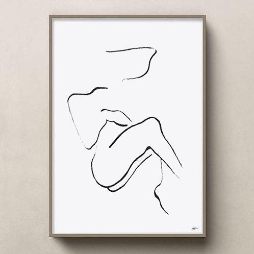 original line art | resting woman