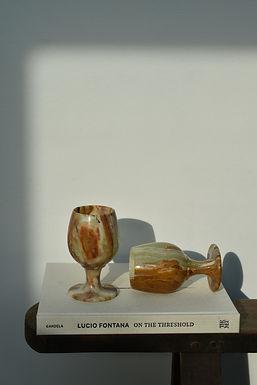 set of four vintage onyx goblets | wine glasses