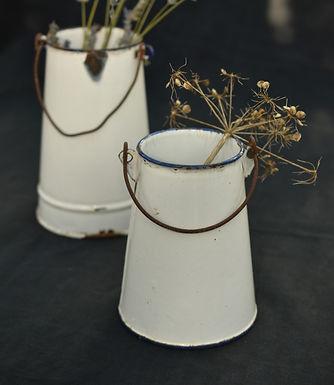 vintage French enamel pail   small