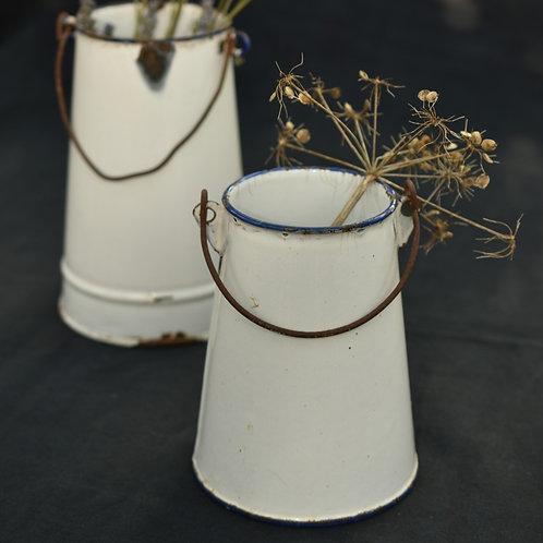 vintage French enamel pail | small
