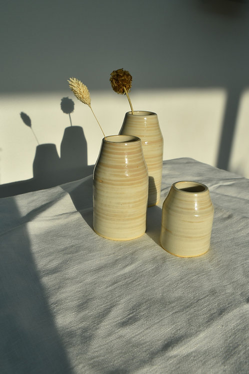 handmade striped ceramic bud vases
