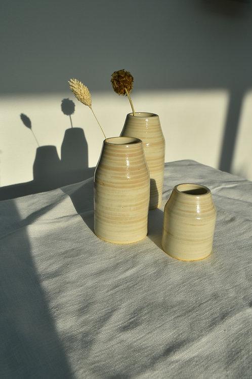 handmade striped ceramic bud vases