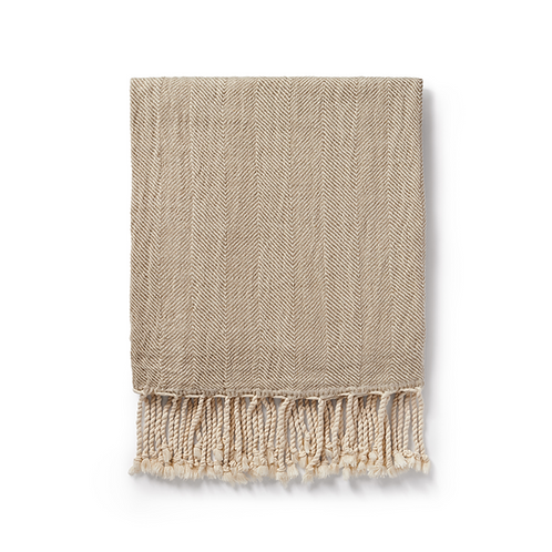 handwoven linen + cotton blanket | taupe