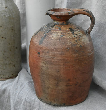 antique French red clay pot