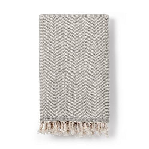 sema handwoven herringbone blanket | dove grey
