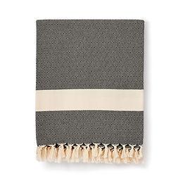damla handwoven organic cotton blanket   black