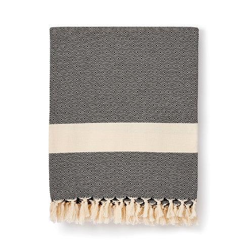 damla handwoven organic cotton blanket | black