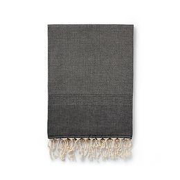 ekin handwoven cotton + wool blanket   black
