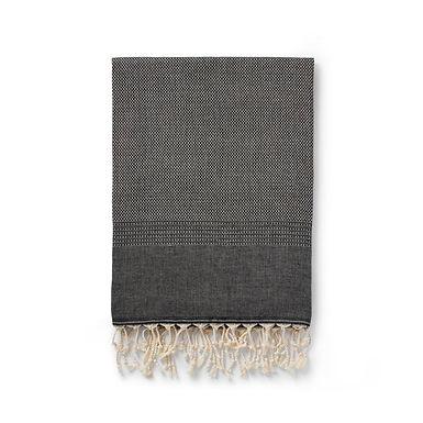 ekin handwoven cotton + wool blanket | black