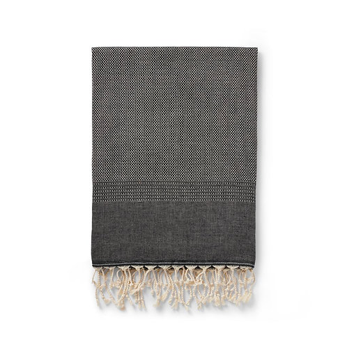 ekin handwoven cotton + wool blanket | black