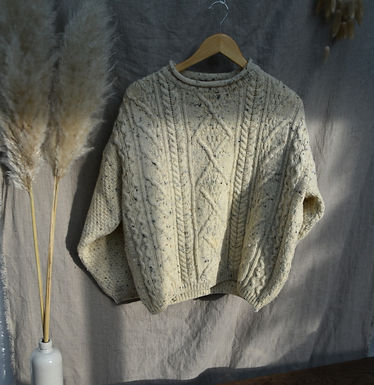 vintage chunky pure wool fisherman's jumper | size 8-14