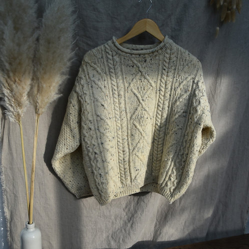 vintage chunky pure wool fisherman's jumper   size 8-14