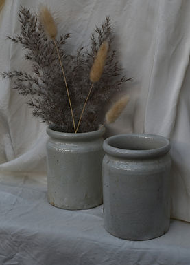 small vintage glazed stoneware pots