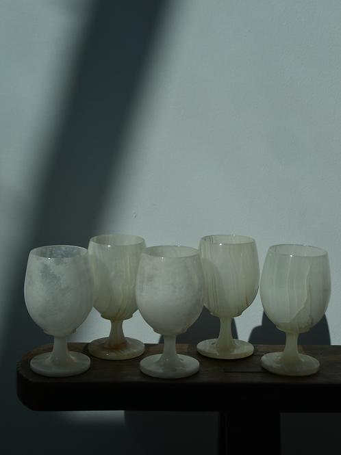 set of five vintage onyx goblets | wine glasses