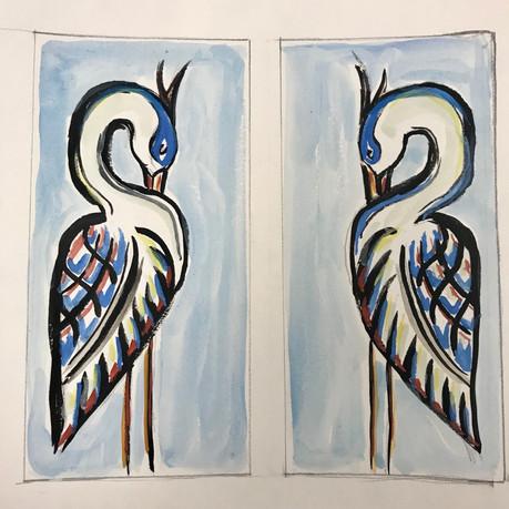 Mirrored Blue Heron