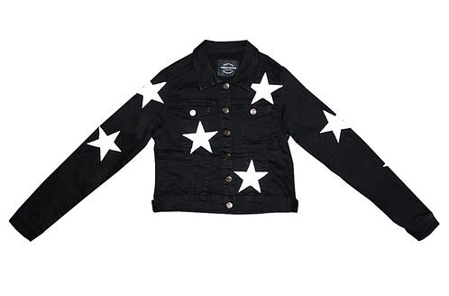 White Stars on Black Denim Jacket