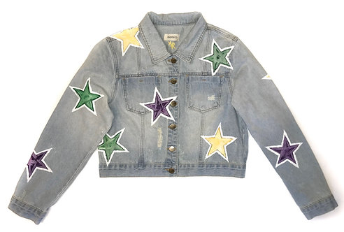 Mardi Gras Star on Light Blue Denim Jacket