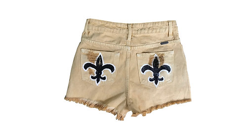 Black Fleur De Lis on Gold Denim Shorts