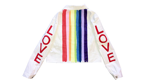 Rainbow Love Sleeve on White Denim Jacket