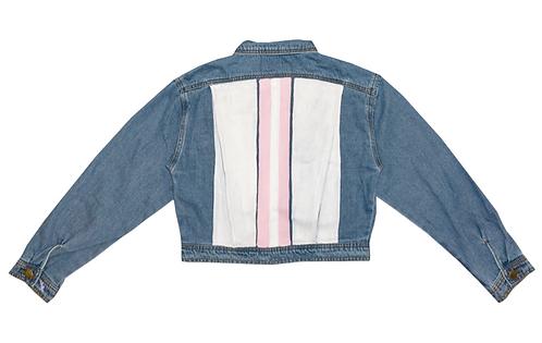 2 Pink Srtipes on White Back Blue Denim Crop Jacket