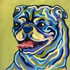 Pug Portrait on Green