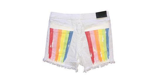 Rainbow on White Denim Shorts
