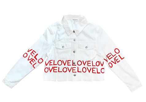 Love Horizontal Stripe on White Denim Jacket