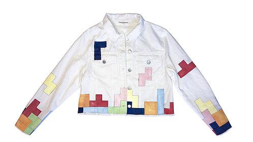 Tetris on White Denim Jacket