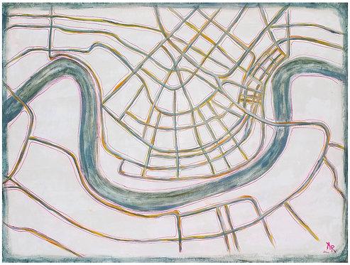 "Blue NOLA Map 18x24"""