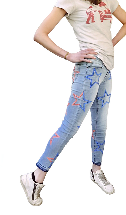 Red and Blue Star on Light Blue Denim Jeans