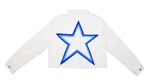 Blue Star on White Denim Jacket