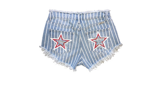 Red and white Star on Light Blue and White Striped Denim Shorts