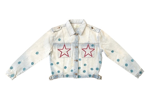 Red Star Pocket with Blue Dots on Light Blue Denim Jacket