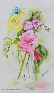 Jam Jar Flower Bouquest Watercolour