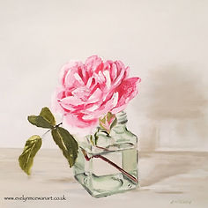 Jam jar Pink Rose Oil Painting