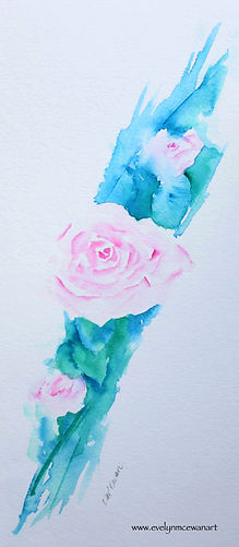 Climbing Pink Roses Watercolour