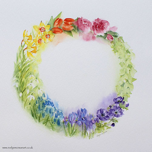 Spring Flower Rainbow Watercolour