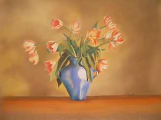 Tulips in the Blue Vase