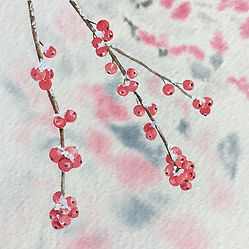 Winter Berries Watercolour Painting