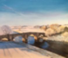 Hyndford Bridge Lanark Oil painting