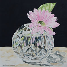 Crystal Posy Bowl with pink Daisy Watercolour
