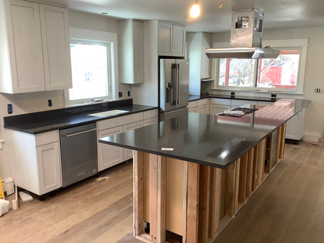 Kitchen with Cambria Charston Quartz by Granite Mountain Countertops