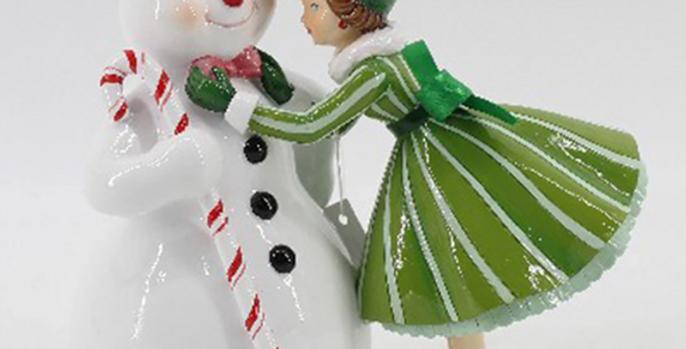 Retro Girl Dressing Snowman Decor