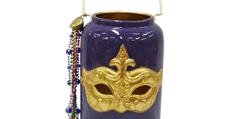 Purple Mardi Gras Lantern Jar Tabletop Decor