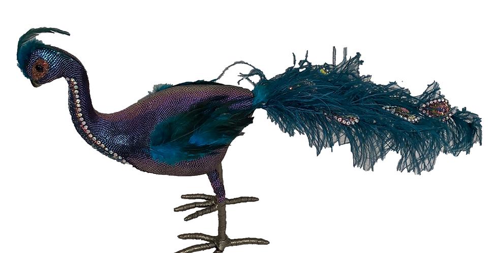 Fancy Beaded Tail Peacock Bird Decor