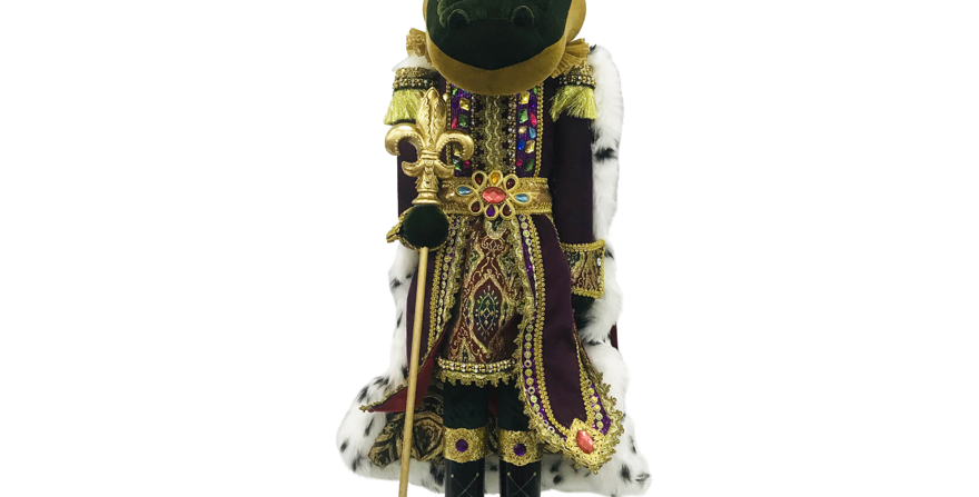 4 Foot Mardi Gras Alligator with Cape and Crown Display Decor