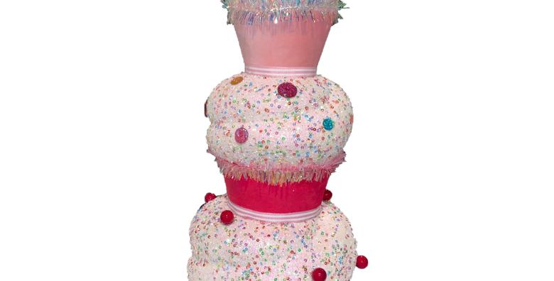 Three Tier Stacked Cupcake Decor