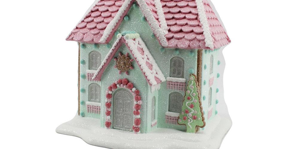 Glittered LED Lighted Gingerbread House